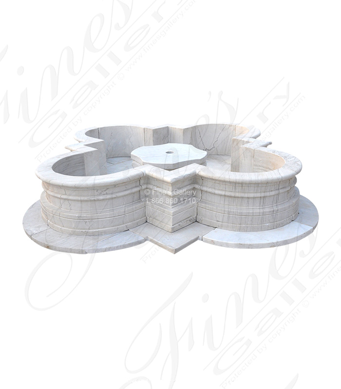 White Marble Quatrefoil Shape Pool Surround