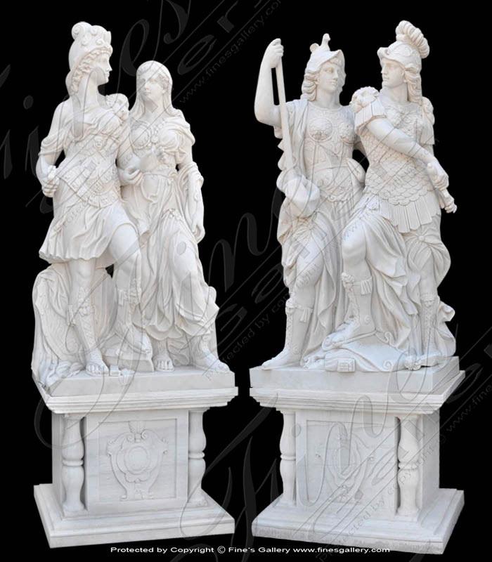 Greek Myths Marble Statue Pair