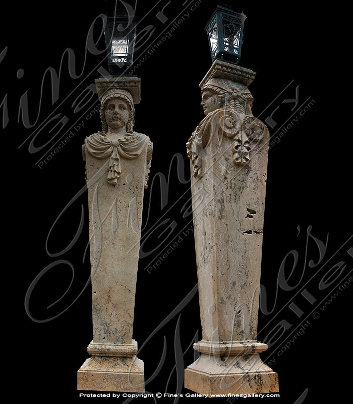 Marble Lamp Post Statue Pair
