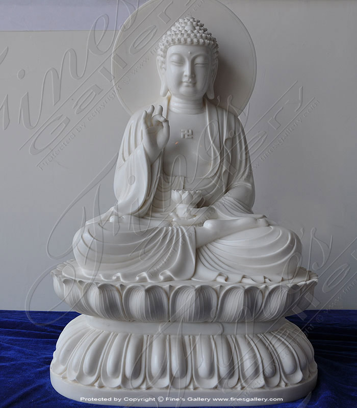 Solid White Marble Buddha Stat