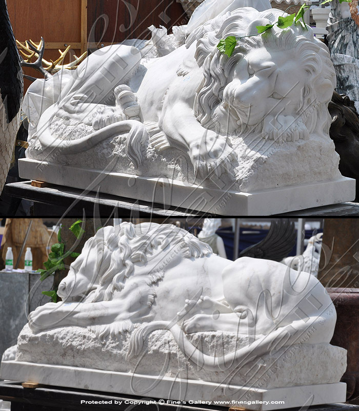 Restful Lion Carved in Marble