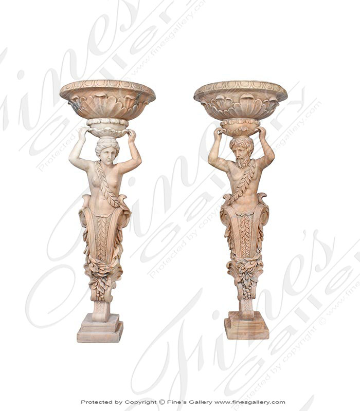 Man and Woman Greek Style Statues with Urn Pair