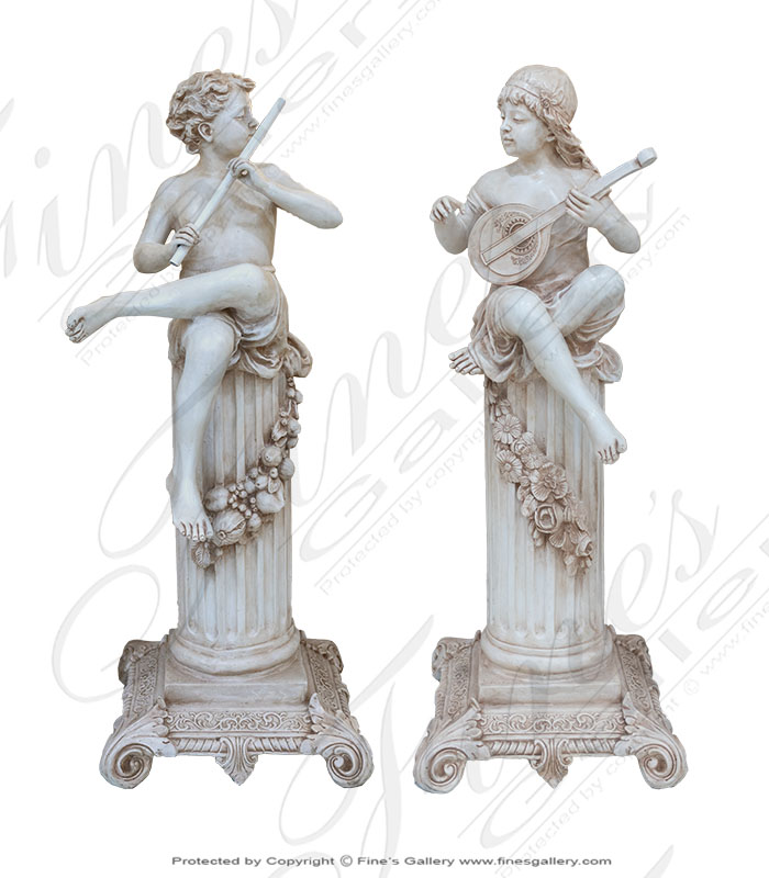 Cast Marble Child Flutist and Mandolin Player Pair