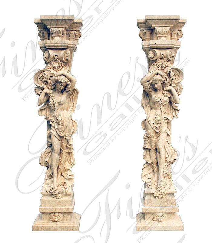 Figural Marble Caryatid Pillar