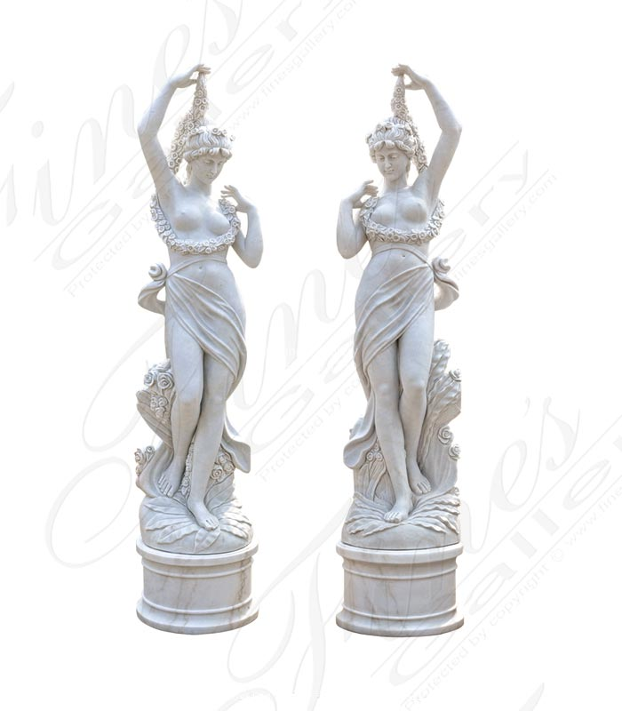 Pair of Stunning Carved Marble Statues