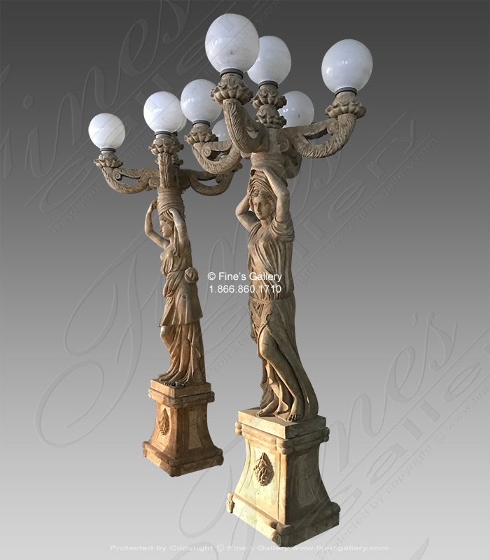 European Style Marble Lampost Pair