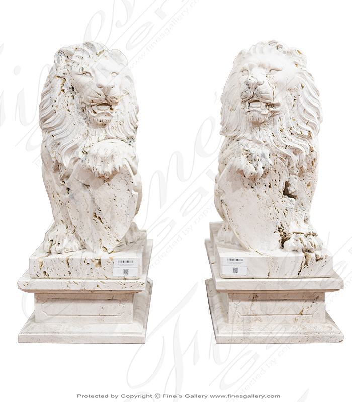 Italian Travertine Lion Pair