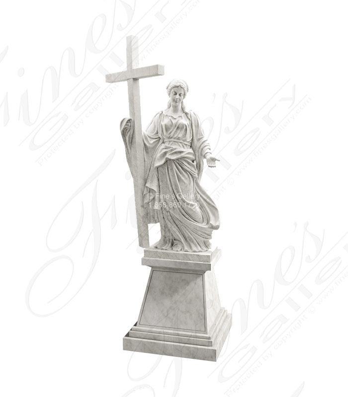 Marble Woman with Cross Statue