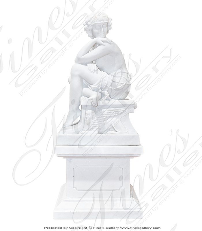 Art Deco Lady in Statuary White Marble