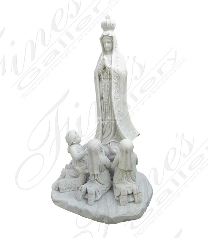 Marble Fatima with Kids Statue