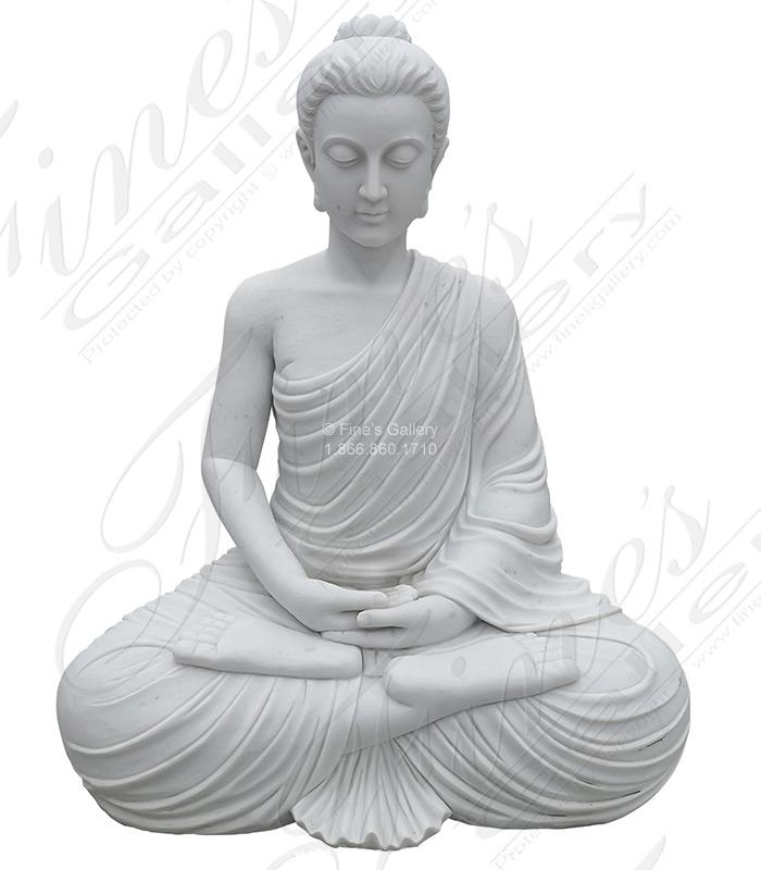 59 Inch Statuary White Marble Buddha