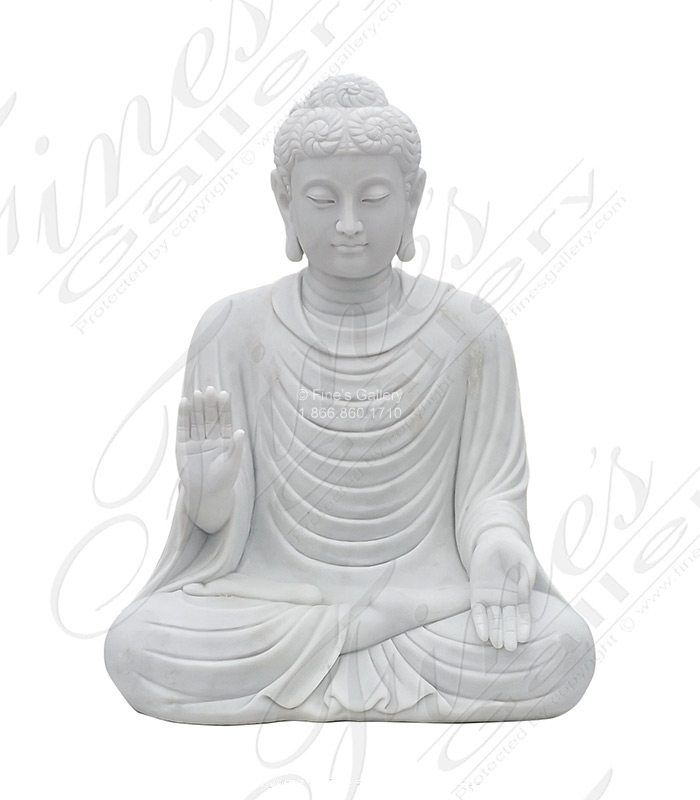 24 Inch Tall Carved Statuary Marble Buddha Statue