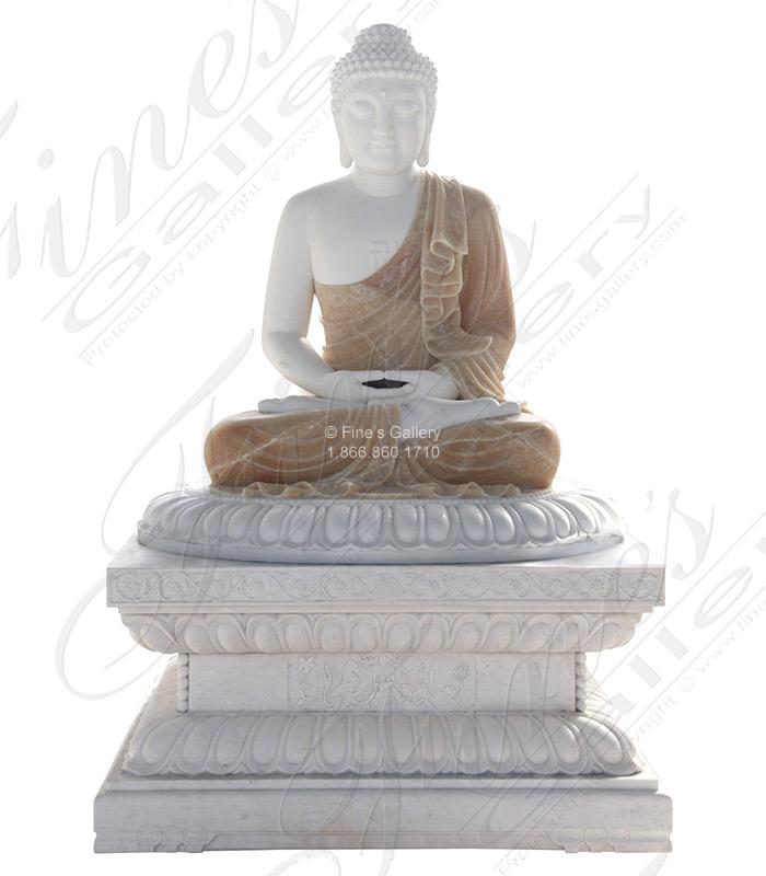 Pure White Marble and Onyx Buddha