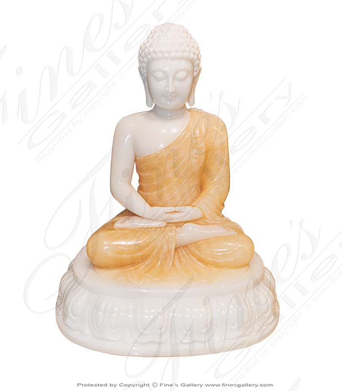 15 Inch Marble and Onyx Buddha Statue