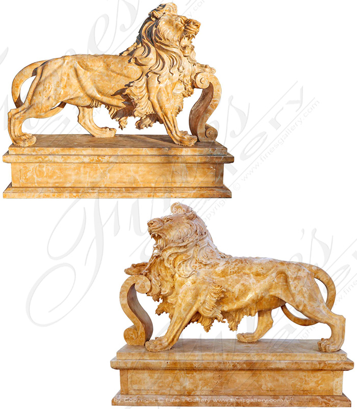 88 Inch Length Natural Stone Lion Pair