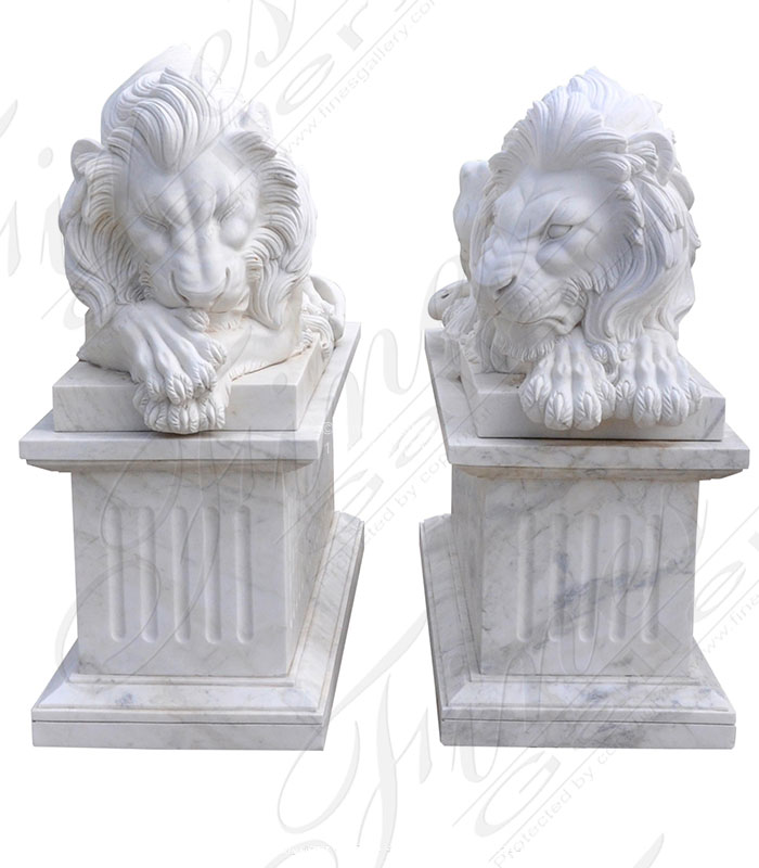 Resting Lion Pair in Hand Carved White Marble