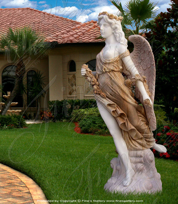 Colored Marble Angel Statue