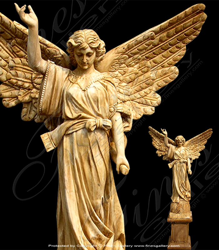 Marble Angel with Trumpet Statue