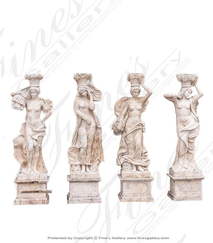 Four Seasons Marble Statue Set
