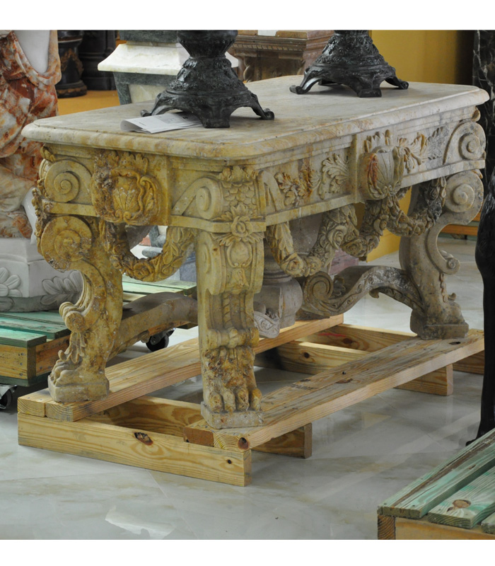 Antique Gold Travertine Credenza Table