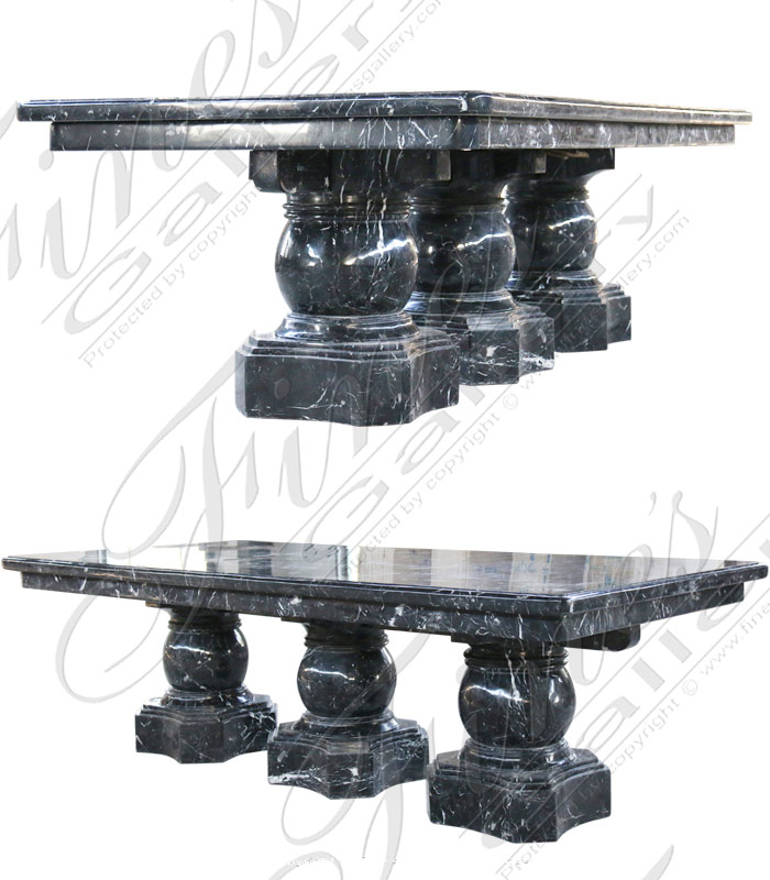 Nero Marquina Marble Dining Table