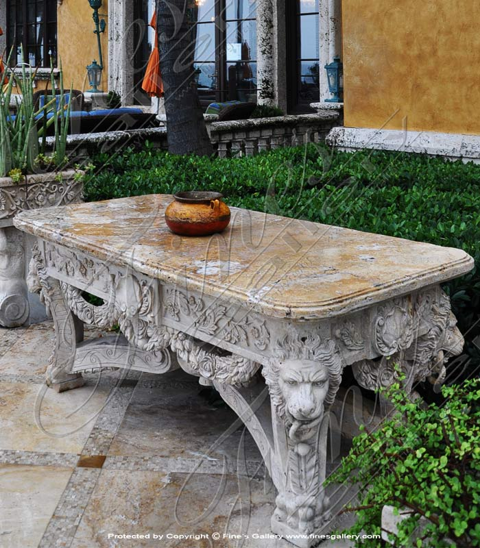 Italian Villa Style Travertine Table