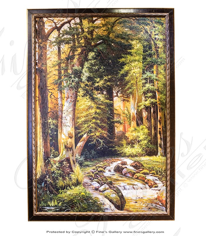 A Wooded Creek Scene on Canvas