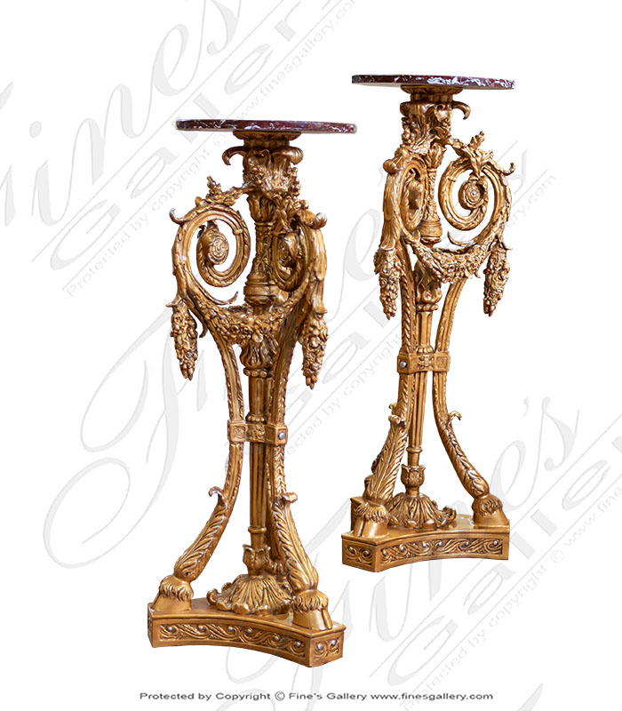 Bronze Bases  - Ornate French Bronze Base Pair - BB-125