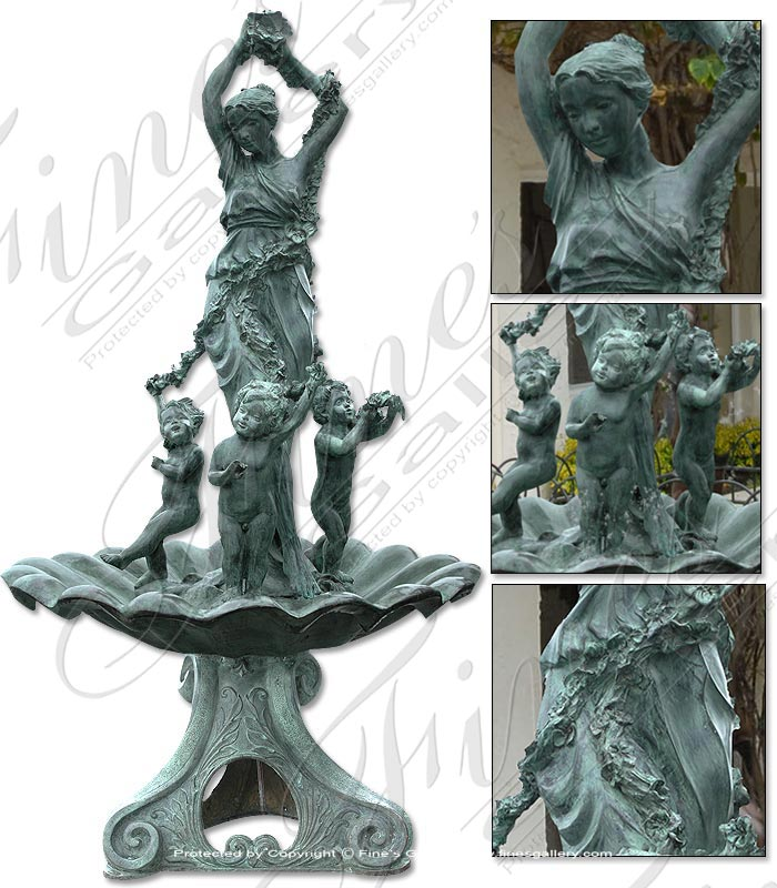 Bronze Fountains  - Antique Patina Bronze Fountain - BF-103