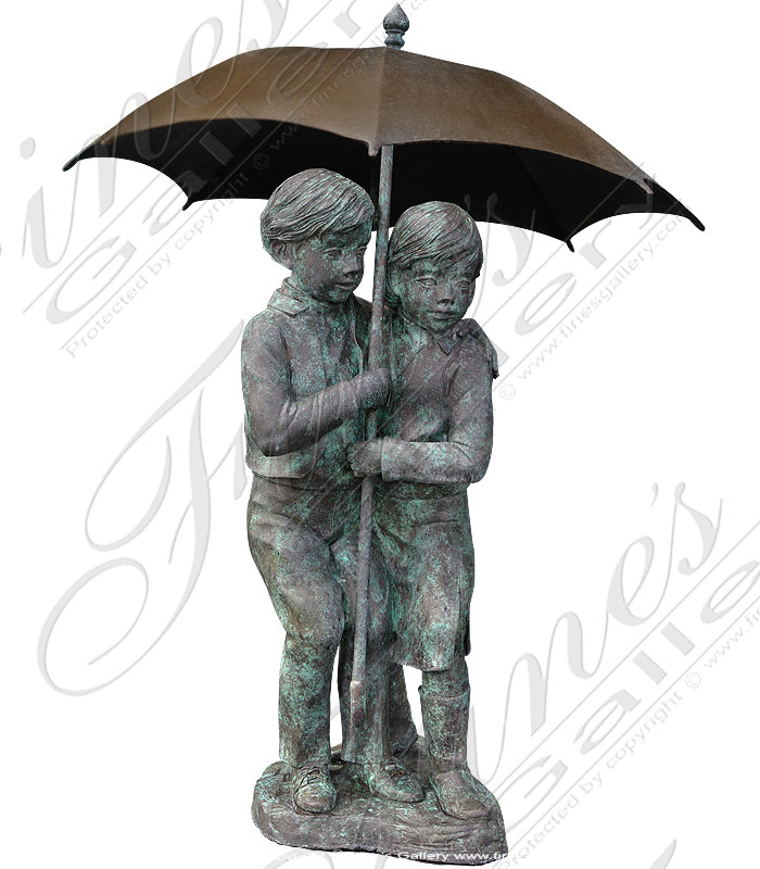 Bronze Fountains  - Children With Umbrella Bronze Fountain - BF-136