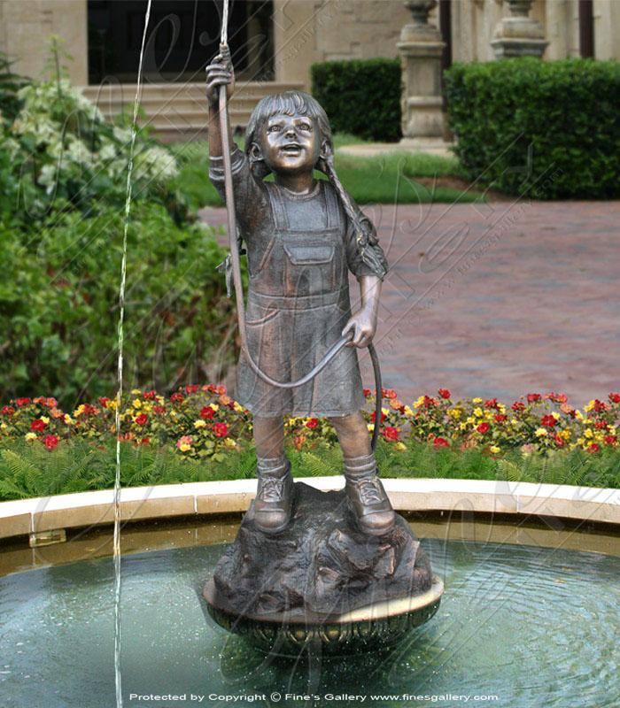 Bronze Fountains  - Garden Girl At Play - BF-175
