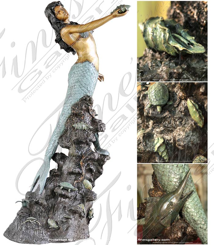 Bronze Fountains  - Bronze Mermaid Fountain - BF-189