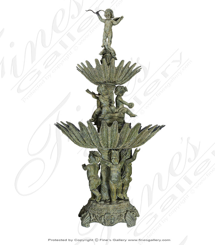 Bronze Fountains  - Cherub On Turtle Pedestal Fountain - BF-202