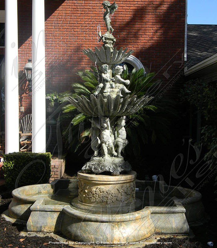 Bronze Fountains  - Cherub Pedestal Fountain - BF-202