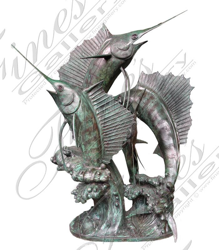 Bronze Fountains  - Three Marlin Bronze Fountain - BF-217