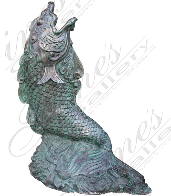 Bronze Fountains  - Patina Bronze Fish Fountain - BF-244