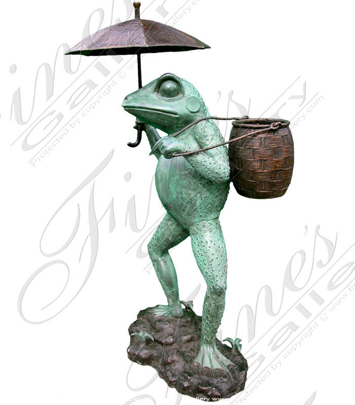 Bronze Fountains  - Umbrella Frog Bronze Fountain - BF-263