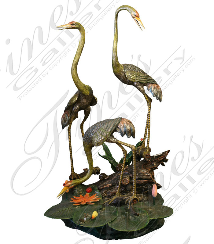 Bronze Fountains  - Bronze Cranes Or Birds Fountain - BF-404