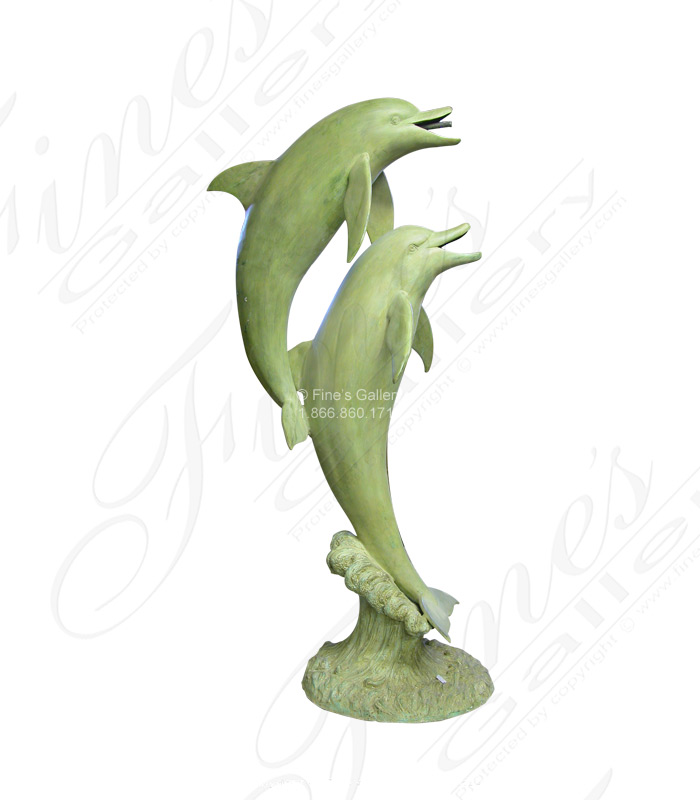 Bronze Fountains  - Two Patina Dolphins Bronze Fountain - BF-292