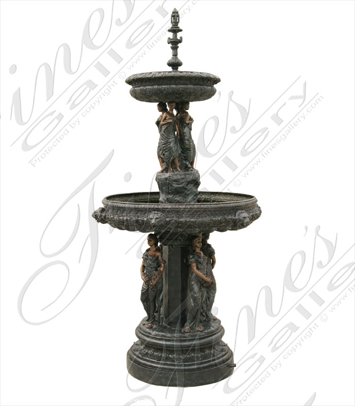 Bronze Fountains  - Two Tier  Female Fountain - BF-361