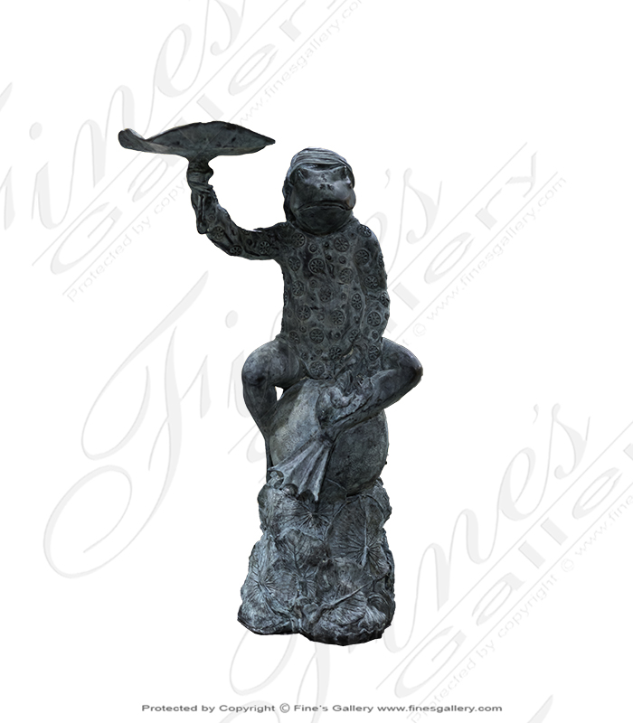 Bronze Fountains  - Bronze Frog Fountain Patina - BF-374