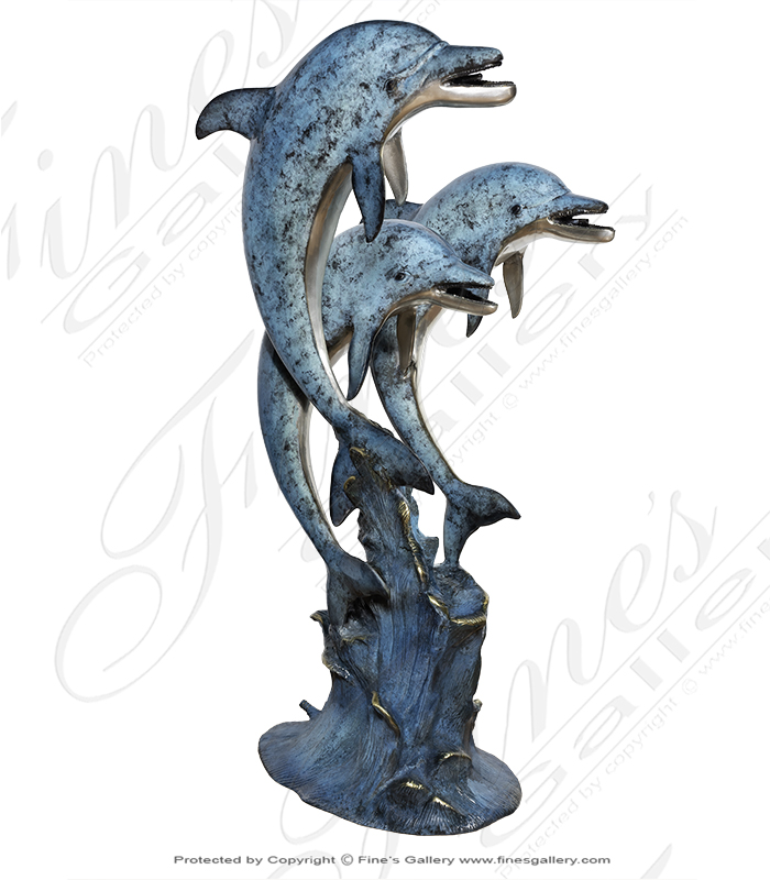Bronze Fountains  - Bronze Three Dolphins Fountain - BF-384