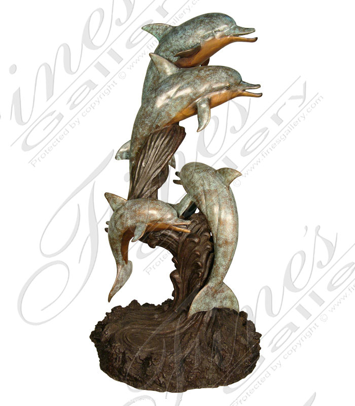 Bronze Fountains  - Bronze Dolphins Fountain - BF-387