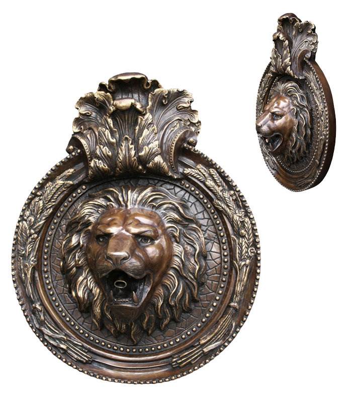 Bronze Lion Mask Wall Fountain