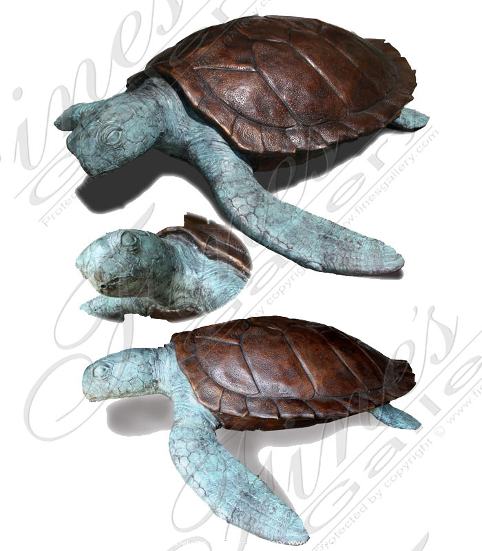 Bronze Fountains  - Bronze Sea Tortoise Fountain - BF-418