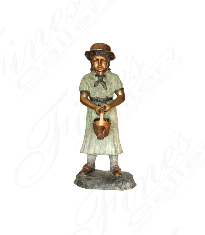 Bronze Fountains  - Garden Girl Bronze Fountain - BF-455