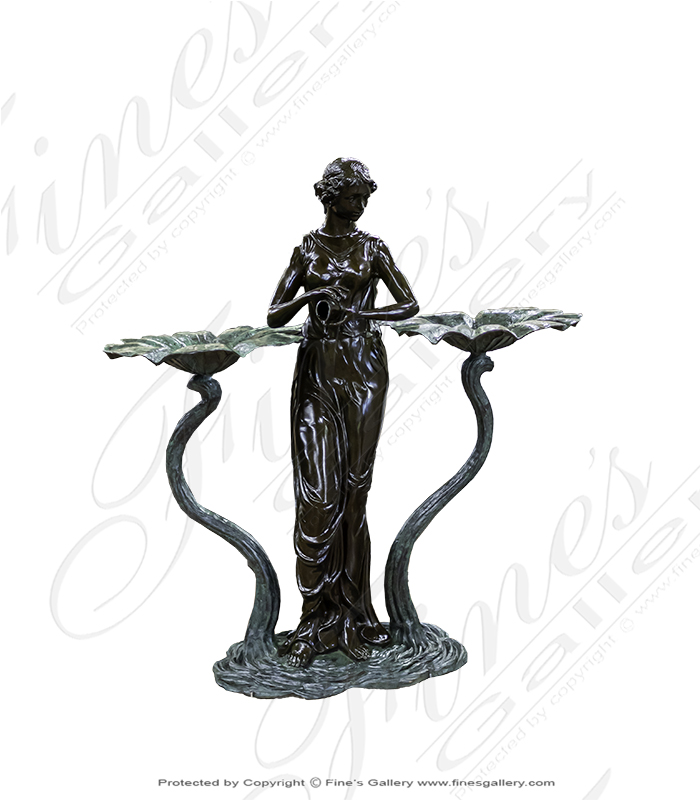 Bronze Fountains  - Enchanted Lily Sprite Bronze Fountain - BF-502