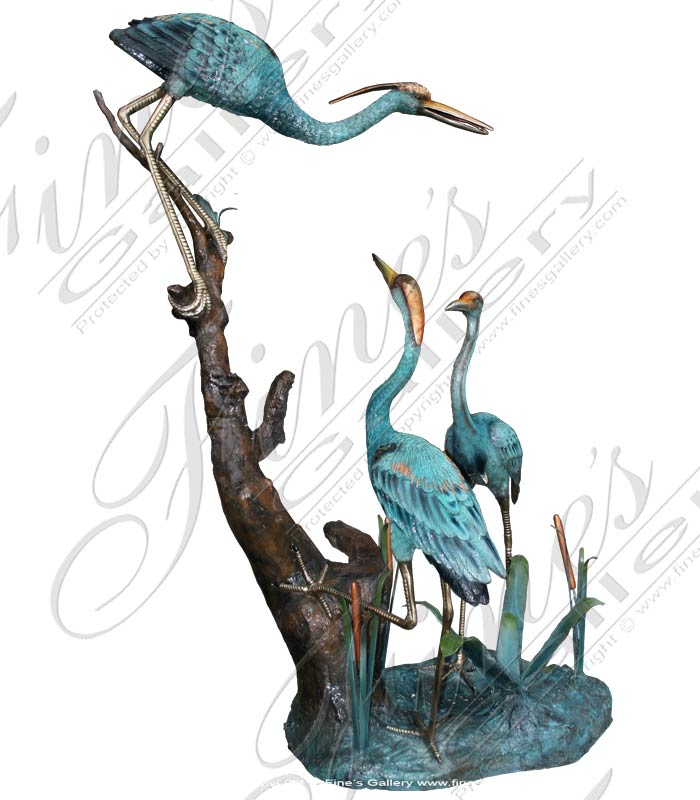 Search Result For Bronze Fountains  - Great Blue Herons In Bronze - BF-611