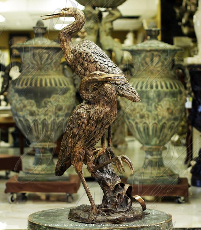 Search Result For Bronze Fountains  - Blue Green Bronze Herons Fountain - BF-706