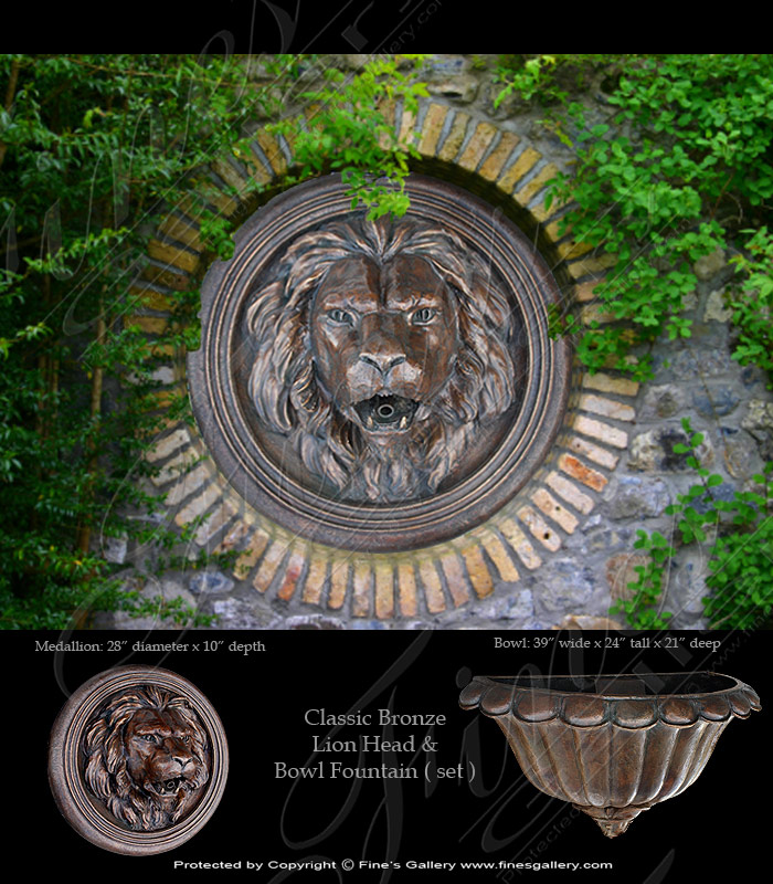 Bronze Fountains  - Bronze Lion Mask Wall Fountain - BF-390